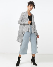 Bellfield Knitted Waterfall Lightweight Cardigan Grey