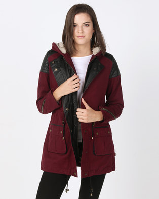 Bellfield Parka with PU Panels Burgundy