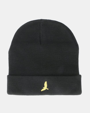 936c29dde32 Brave Soul Mens Knitted Beanie With Hat EMB Jet Black