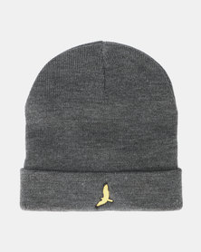 Brave Soul Mens Knitted Beanie With Hat EMB Dark Charcoal Marl