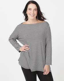 Utopia Plus Boatneck 3/4 Sleeve Tee Black/White Stripe