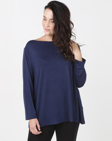 Utopia Plus Boatneck 3/4 Sleeve Tee Navy
