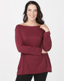 Utopia Plus Boatneck 3/4 Sleeve Tee Burgundy
