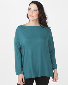 Utopia Plus Boatneck 3/4 Sleeve Tee Forest Green