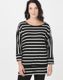 Utopia Plus Batwing Top Black/White Stripe
