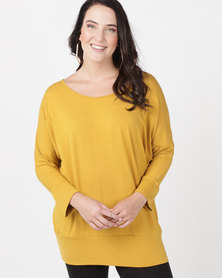 Utopia Plus Batwing Top Mustard