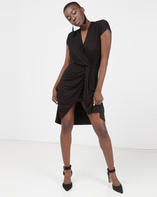 Utopia Mock Wrap Dress Black