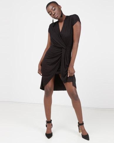 Utopia Mock Wrap Dress Black