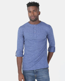 Utopia Sascha Henley Top With Roll Up Sleeve Blue Melange