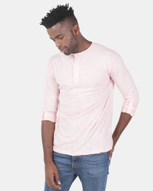 Utopia Sascha Henley Top With Roll Up Sleeve Pink Melange