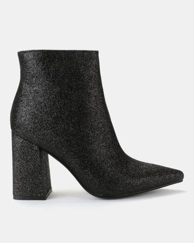 Public Desire Empire Glitter Boots Black