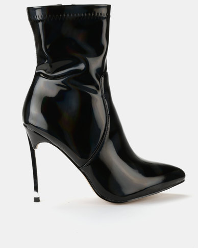 Public Desire Haze Patent Boots Black