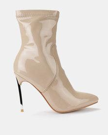 Public Desire Haze Iridescent Patent Boots Nude