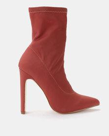 Public Desire Maven Lycra Boots Dusk Pink