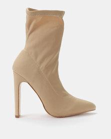 Public Desire Maven Lycra Boots Nude