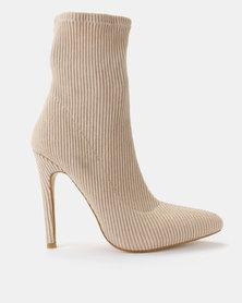 Public Desire Maxi Stretch Boots Nude