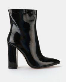 Public Desire Rejoice Iridescent Patent Boots Black