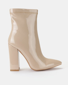 Public Desire Rejoice Iridescent Patent Boots Nude