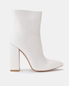 Public Desire Texture PU Boots Nude/ White