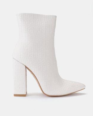 4219646158e Public Desire Texture PU Boots Nude  White