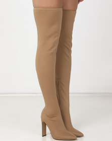 Public Desire Stage Stretch Boots Nude