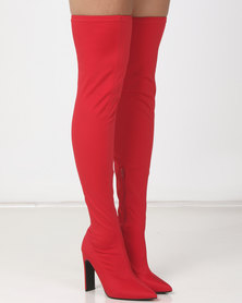 Public Desire Stage Stretch Boots Red