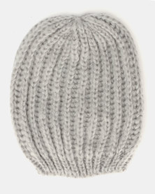 Brave Soul Aimee Half Cardigan Beanie Light Grey