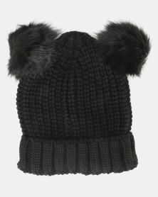 Brave Soul Snowy Half Cardigan Knit Beanie with Faux Fur Pom Poms Black