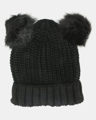 Brave Soul Snowy Half Cardigan Knit Beanie with Faux Fur Pom Poms Black 26923d563