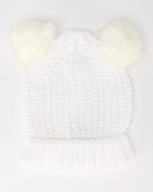 Brave Soul Snowy Half Cardigan Knit Beanie with Faux Fur Pom Poms White