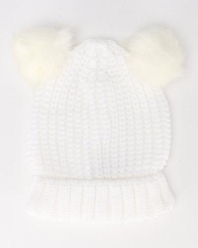 Brave Soul Snowy Half Cardigan Knit Beanie with Faux Fur Pom Poms White  0f9bc78cf41