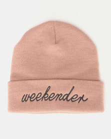 Brave Soul Slogan 2 Knitted Beanie Dusty Pink