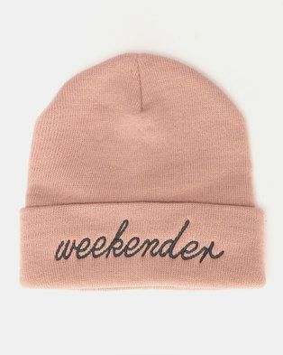 c8e3967895d11 Brave Soul Slogan 2 Knitted Beanie Dusty Pink