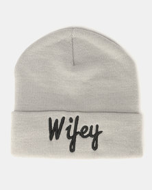 Brave Soul Slogan 2 Knitted Beanie Grey