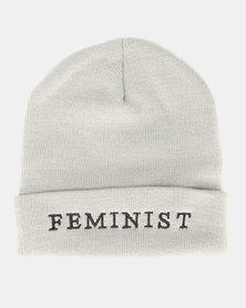 Brave Soul Slogan 1 Knitted Beanie Silver Grey