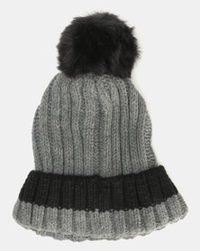Brave Soul Panther Ribbed Beanie With Faux Fur Pom Pom Mid Grey With Black