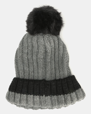Brave Soul Panther Ribbed Beanie With Faux Fur Pom Pom Mid Grey With Black   8235aaf5bd6