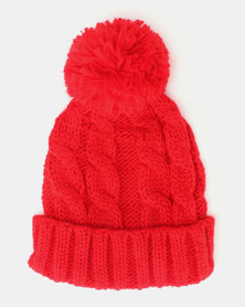 Brave Soul Panther Ribbed Beanie With Bobble Scarlet