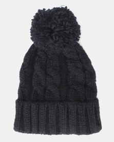Brave Soul Panther Ribbed Beanie With Bobble Navy