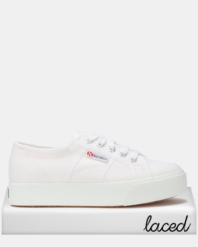 Superga Canvas Mid Wedge Sneakers White