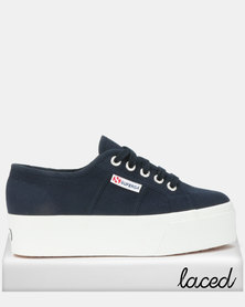 Superga Classic Canvas Full Wedge Sneakers Navy/White