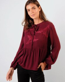 Marique Yssel Judy FP Top - Embroidered Wine