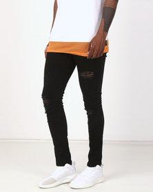 D-Struct Ripped Skinny Jeans Black