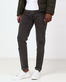 D-Struct Distressed Skinny Jeans Black