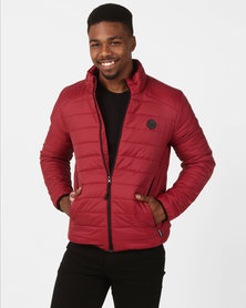 D-Struct Funnel Neck Quilted Jacket Burgundy
