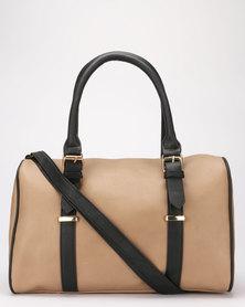 Legit Buckle Detail Barrel Bag Stone