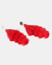 Legit Layered Tassel Earrings Red