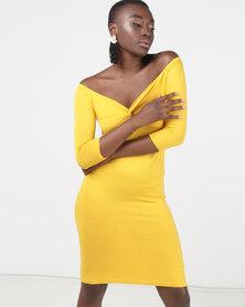 Legit Bardot 3/4 Sleeve Twist Front Peep Out Midi Tube Dress Mustard