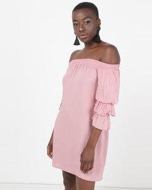 Legit Bardot Shift Dress With Tiered Sleeve Blush