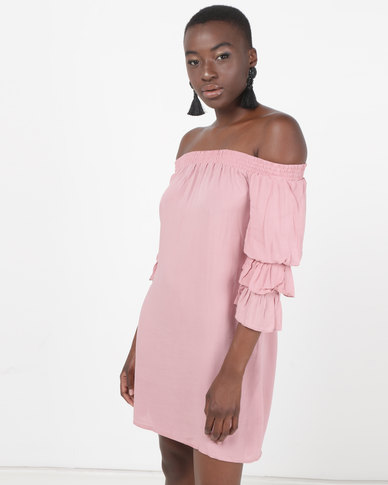 Legit Bardot Shift Dress With Tiered Sleeve Blush